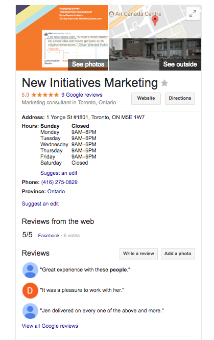 Google My Business page New Initiatives Marketing