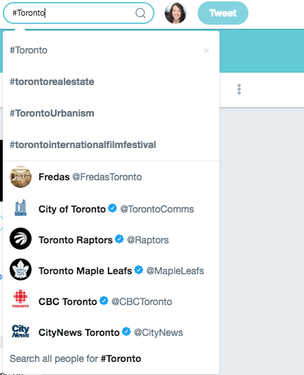 Example of Twitter hashtag #Toronto New Initiatives Marketing